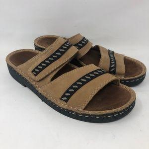 Minnetonka Leather Tan Slip On Open Toe Sandals 8